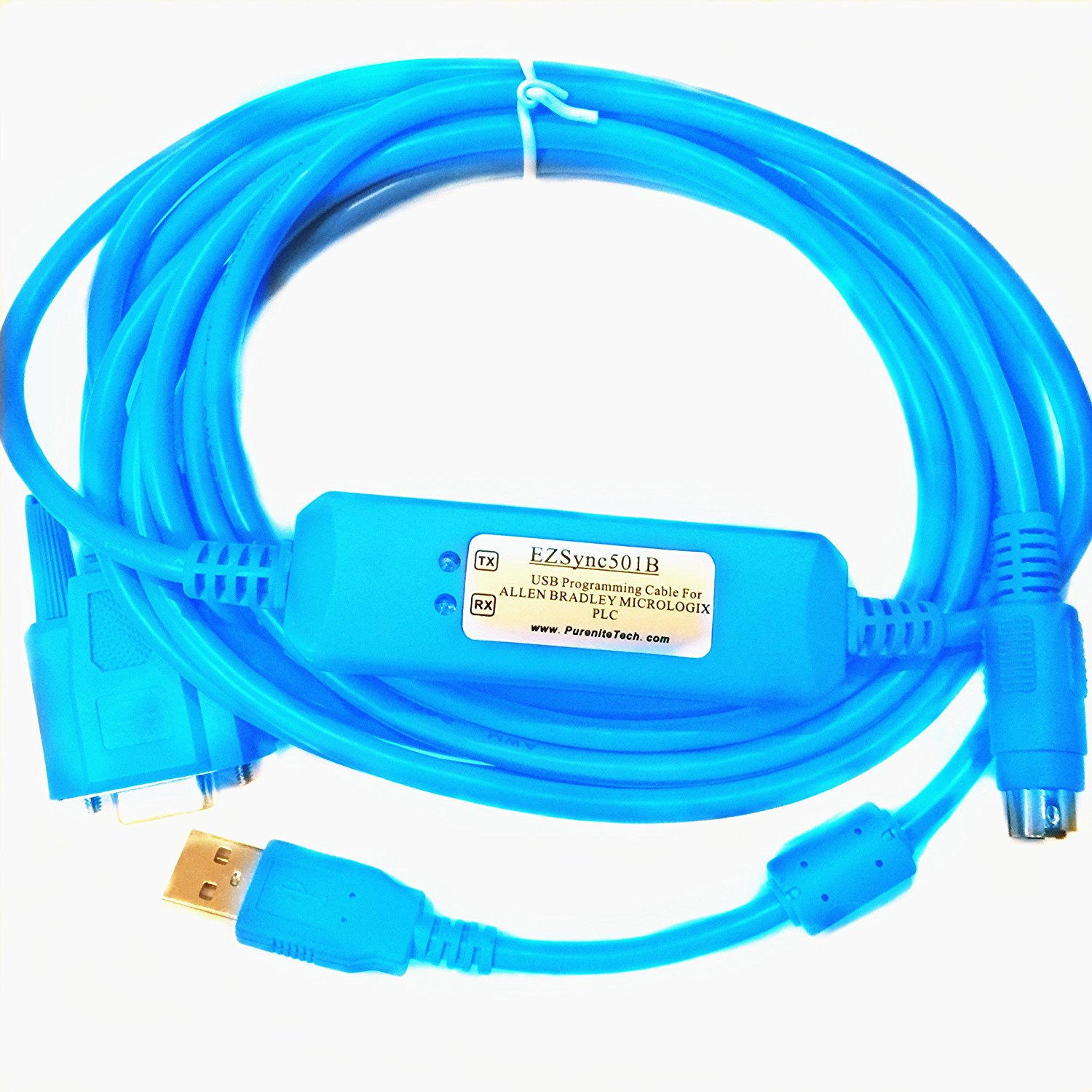 EZSync USB PLC Programming Cable for Allen Bradley Micrologix, 8-pin ...